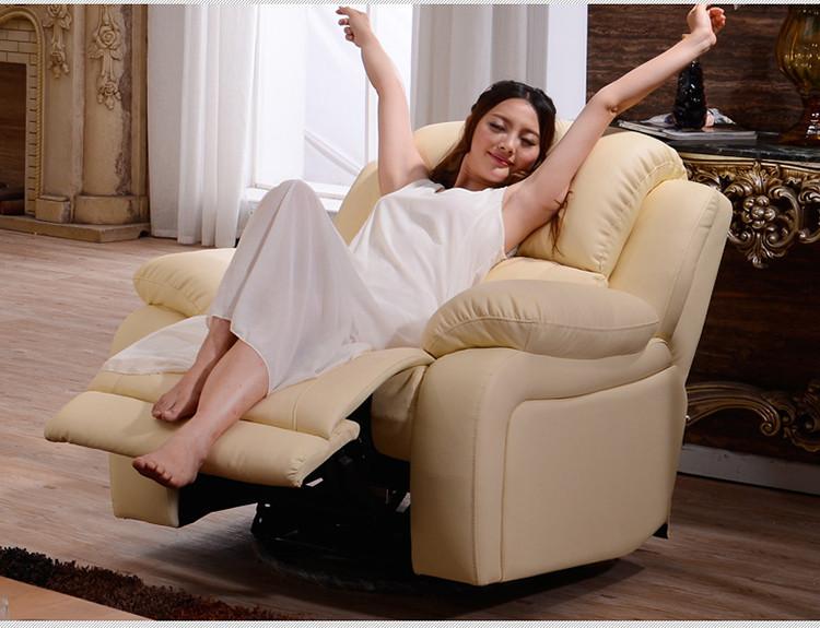 头等舱多功能沙发真皮小户型欧式沙发单人客厅摇转