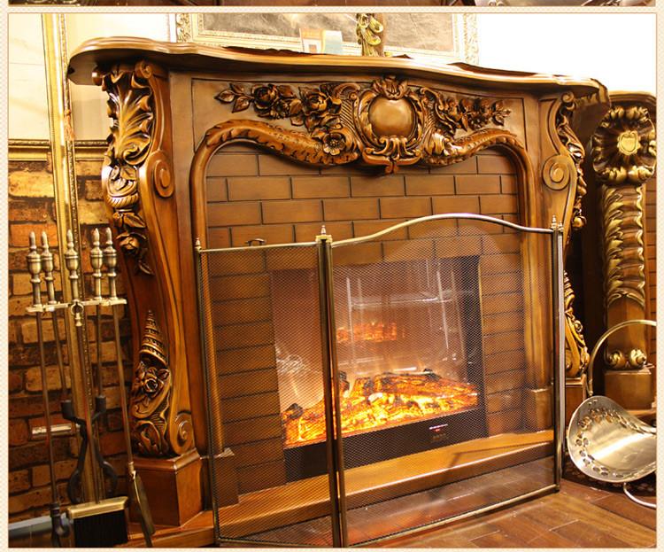 帝轩名典 1.65米欧式壁炉装饰柜 美式高档实木壁炉架 led火焰炉芯