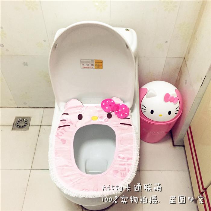 新款特价hellokitty凯蒂猫图案亚麻魔术贴防滑卫生间马桶坐垫坐便圈