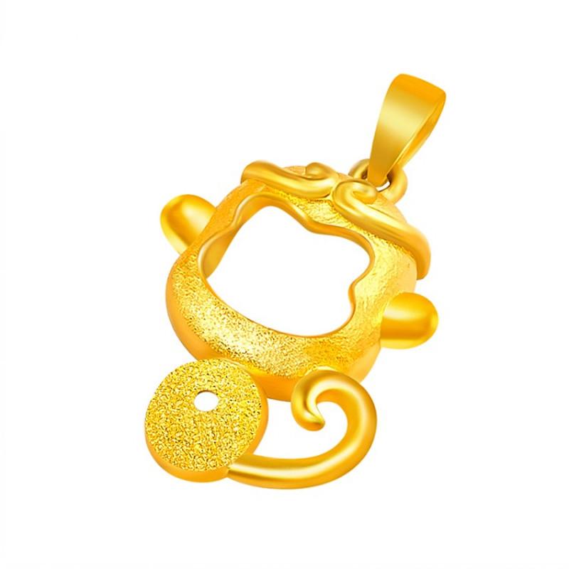 黄金猴子囹�a_菜百首饰 黄金吊坠 足金上紧箍咒磨砂镂空猴年猴子项坠吊坠