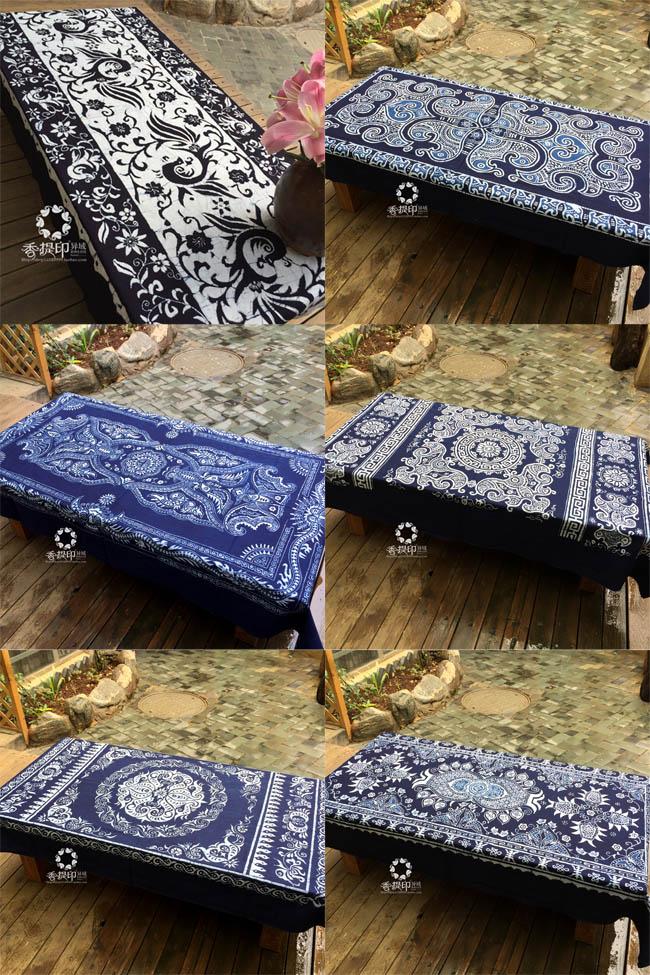 香提印 民族手工蜡染桌布长方形桌布茶几布 装饰挂布吧台布蓝白布