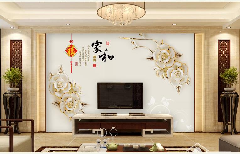 電視背景墻壁紙中式壁畫3d立體客廳5d墻紙影視墻定制無縫墻布無縫棉