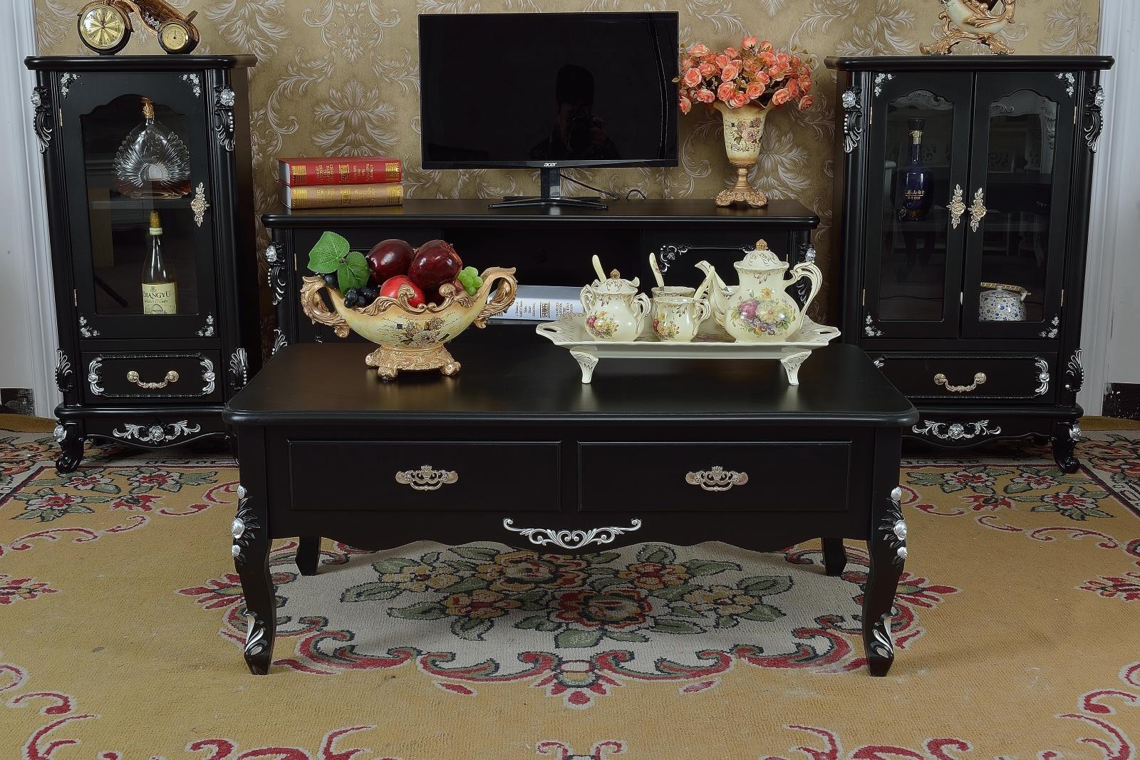 新款欧式黑色电视柜茶几组合卧室客厅电视柜组合酒柜茶几套装特价
