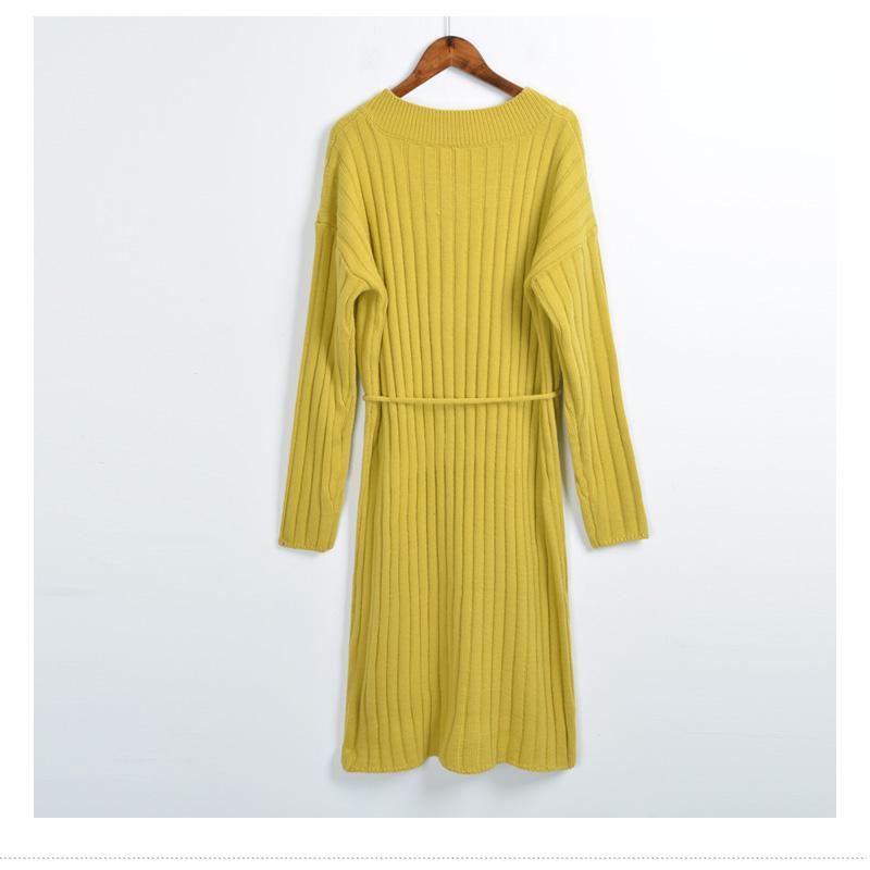 2017春装新款宽松显瘦中长款长袖针织连衣裙