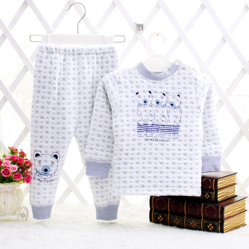哈咪奇哈米奇婴儿童全棉夹丝保暖内衣套装男女宝宝夹