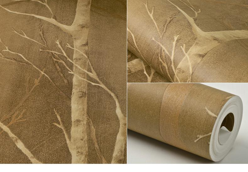 旗航壁纸 现代简约 仿树枝 环保纯纸壁纸 时尚客厅卧室墙纸qhj-b5