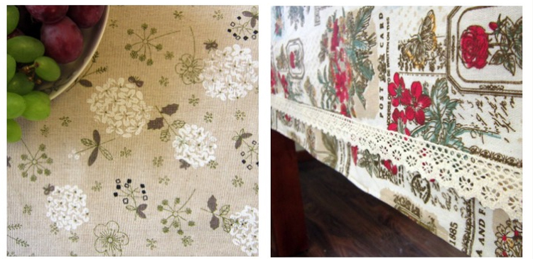 台布 布艺棉麻茶几桌布 长方形餐桌布带花边 餐桌盖布罩件-小玫瑰双层