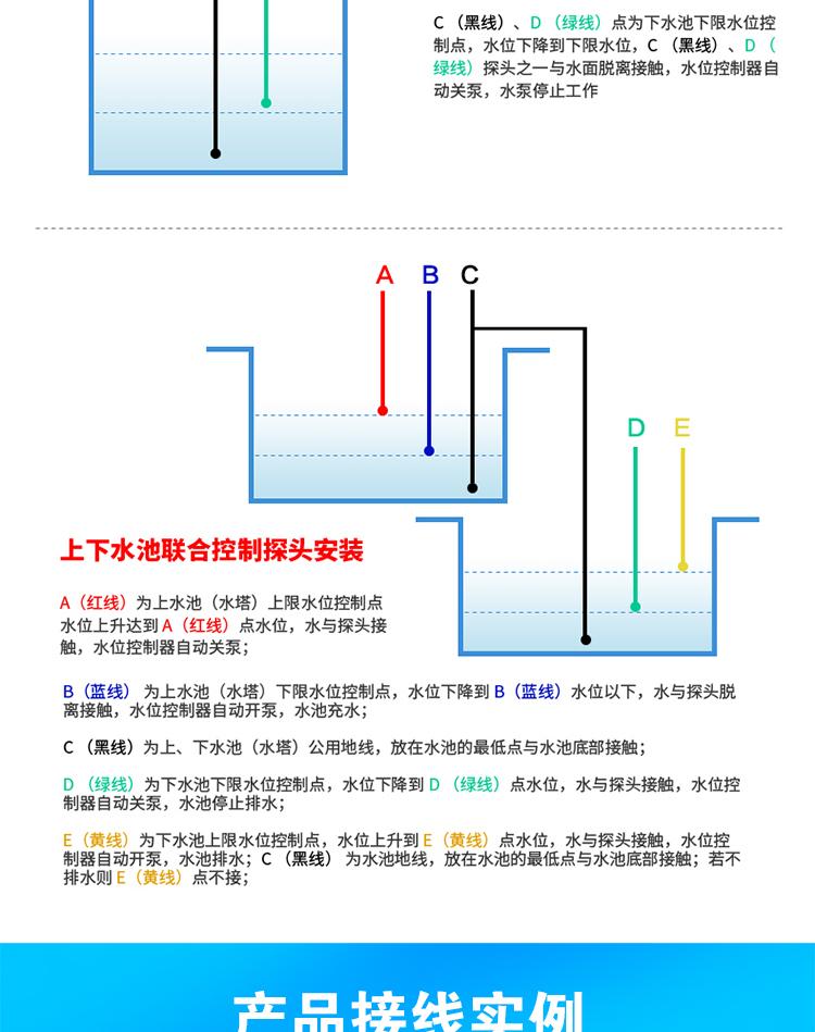 导轨式水位控制器全自动水塔水井水池液位继电器水泵水位开关