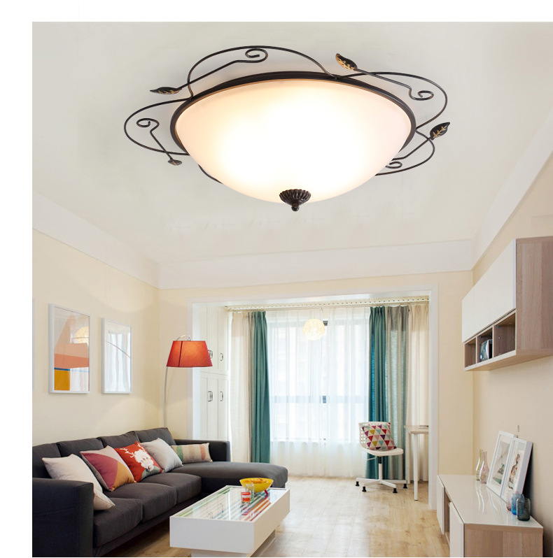 美式乡村led吸灯欧式复古客厅卧室灯书房阳台过道圆形