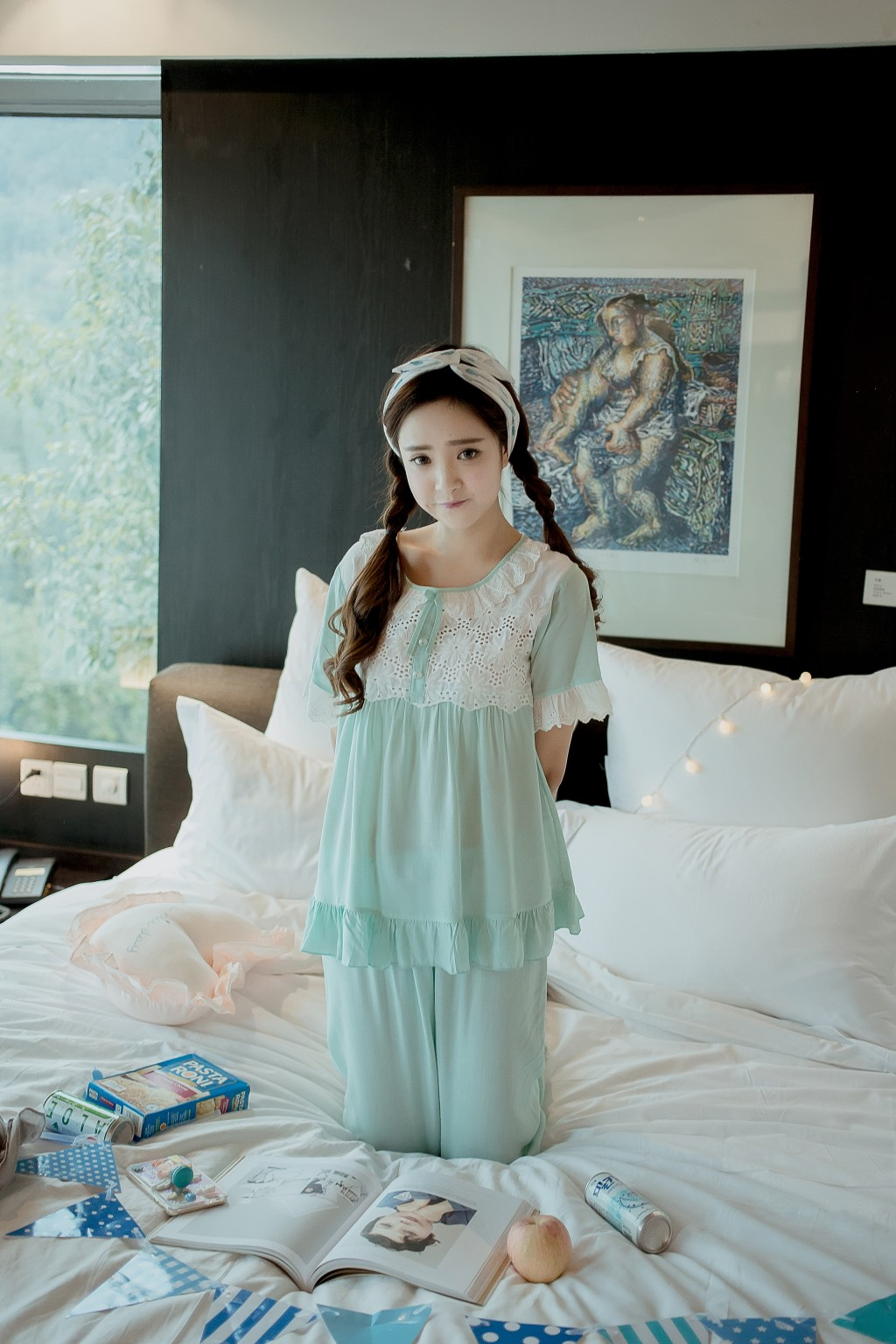 韩国可爱公主纯棉睡衣女夏季休闲清新甜美蕾丝短袖家居服套装夏天