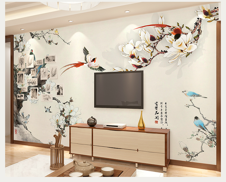 卡茵 新中式电视背景墙壁纸 客厅影视墙大型壁画 卧室图片