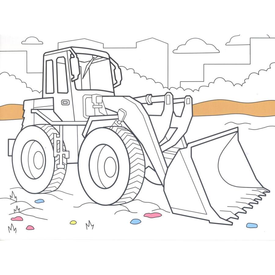 万次涂擦涂色书 强大的工程车