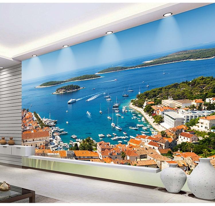 00 3d立体墙贴墙纸墙画风景阳台窗户贴画酒店自粘壁画客厅背景墙壁纸
