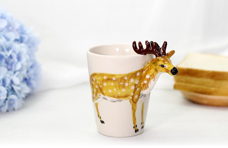 揖美3d立体动物水杯陶瓷手绘马克杯猩猩,猫,大象三款可选