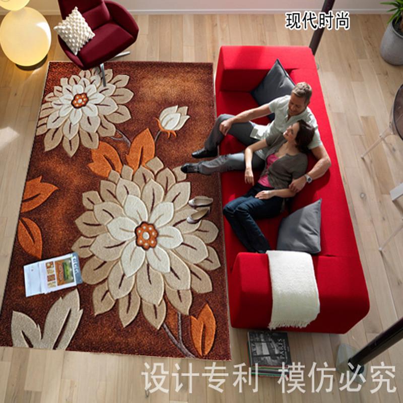 华德地毯客厅茶几现代高档纯手工剪花客厅茶几地垫欧美雕花式地毯