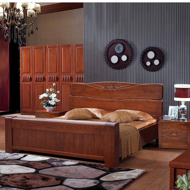现代中式实木床高箱床1.8米 橡胶木双人床硬板床古典床特价包邮图片