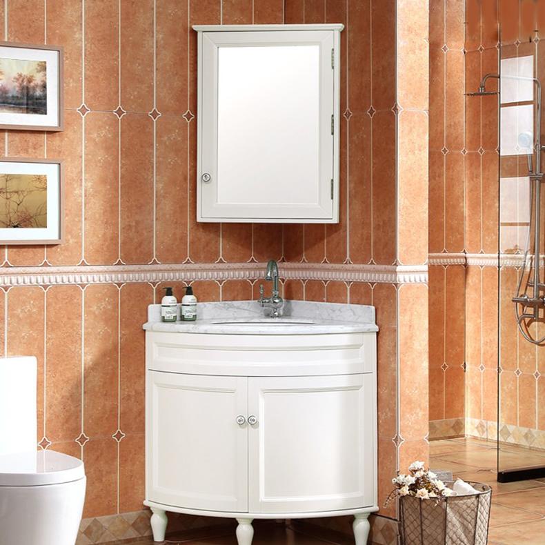 欧式橡木浴室柜三角实木落地 转角墙角洗漱台洗脸盆美式pvc小户型图片