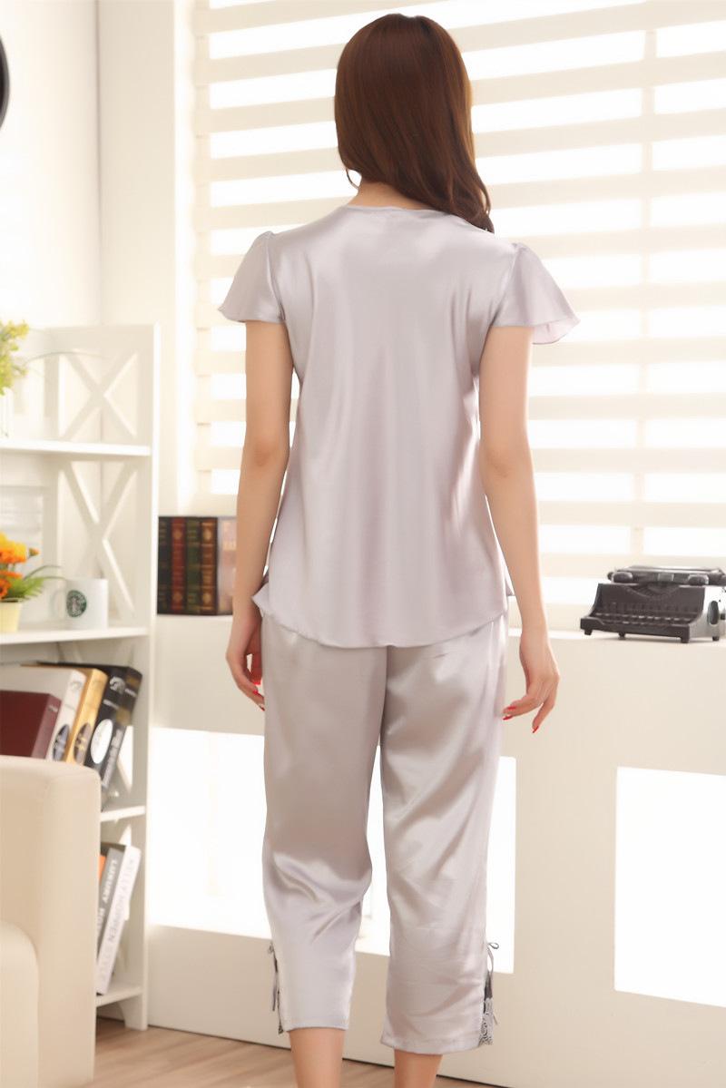 夏天仿真丝短袖女夏季睡衣七分裤丝质冰丝薄款雪纺性感上衣图片