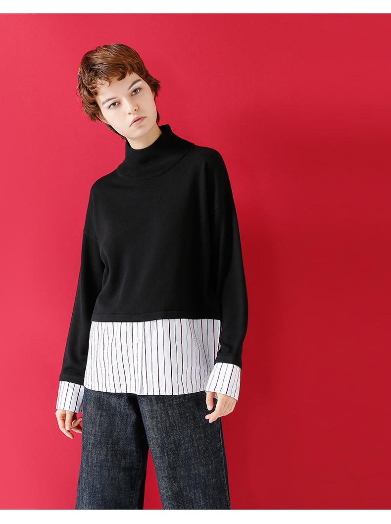 初语2017冬季初中小高领小杰新品衬衫假两件升入时套头叫毛衣在本人图片