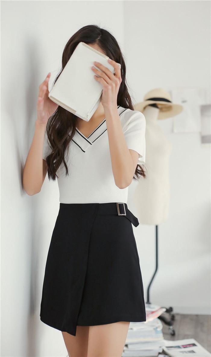 情娇婷2016韩版 v领条纹修身显瘦冰丝短袖针织衫女弹力修身夏 9083