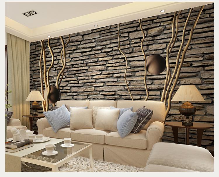 卡茵 欧式砖头墙纸 电视背景墙壁纸壁画 时尚简约沙发