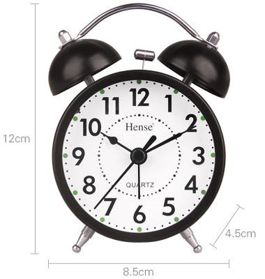 汉时(hense) 闹钟 可爱卡通创意钟表个性小闹钟 静音无声夜灯时钟ha01图片
