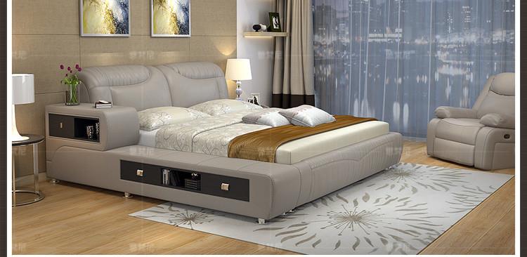 陆虎 牛皮皮床 功能储物榻榻米 榻榻米床 软床 时尚卧室 牛皮软床