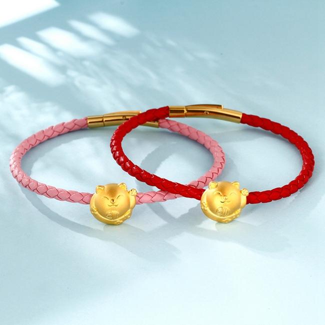 钻石快线 黄金手链女 招财猫 黄金转运珠手链女手绳 计价产品
