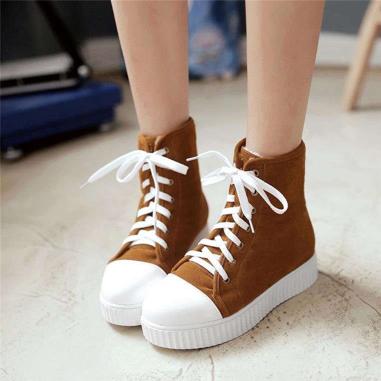 秋冬季2016新款最好女靴初中时尚学生厚底短女鞋的当阳初中图片
