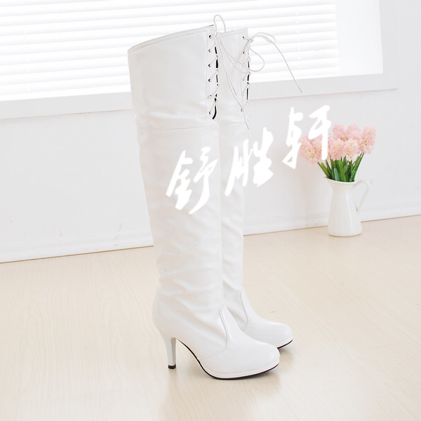 绑带过膝钢管长靴v绑带性感性感舞高筒靴细跟欧photoshop高跟图片