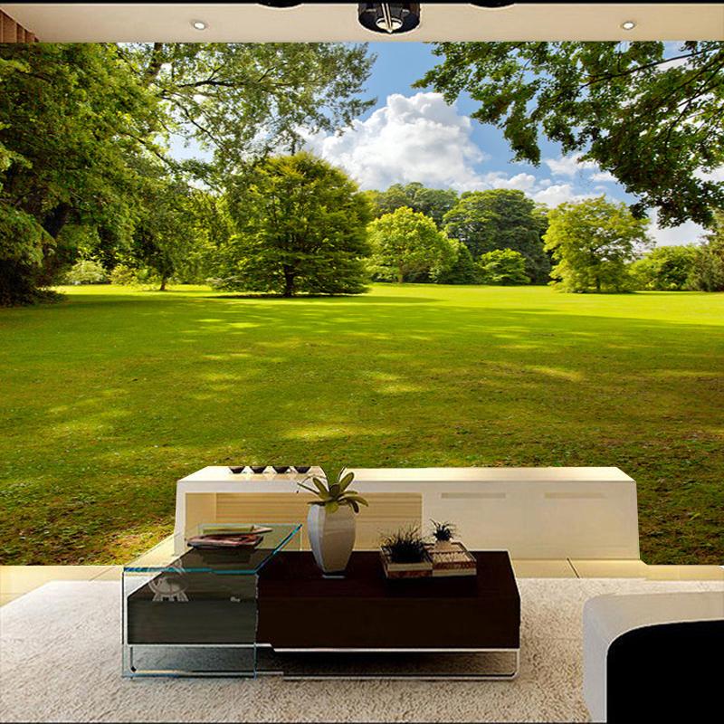 立体中式公园自然风景壁纸电视背景墙纸壁画客厅沙卧室大型壁画