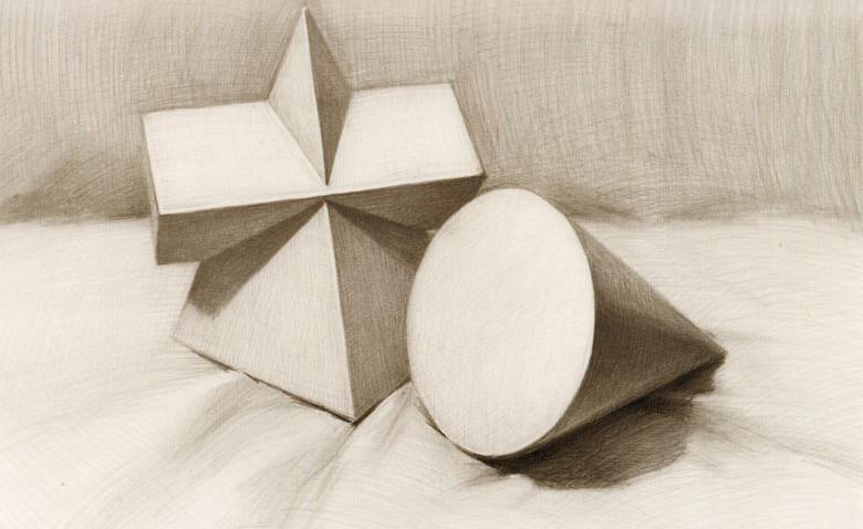 大胆画,多初学者要多临摹,注意透视等, 素描几何形体(图5) 素描几何