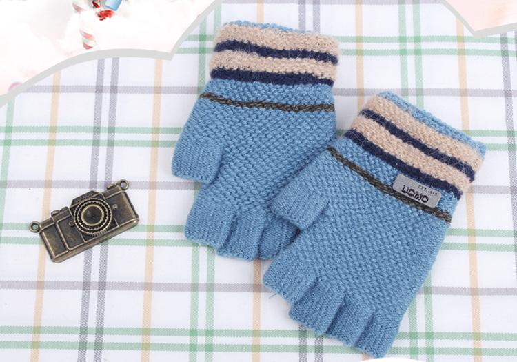 百瑞欧 8-13岁大小孩儿童手套露指秋冬天保暖