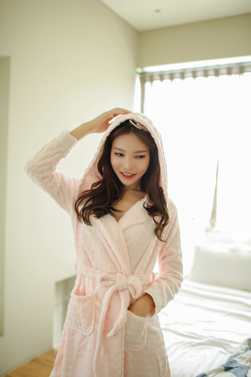 魅言魅语2016秋冬季情侣睡衣女背包睡裙加厚的初中生睡袍图片