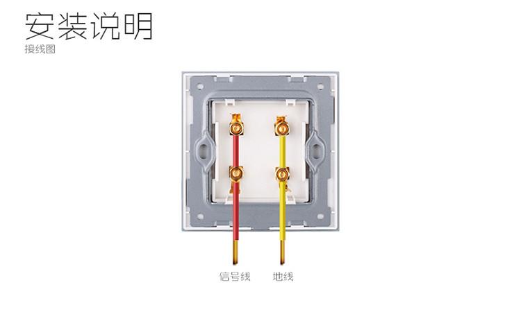 两位四孔 音响插座 超薄面板 钢化玻璃材质
