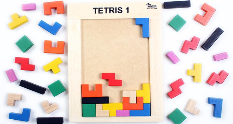 外贸原单 儿童智力拼板宝宝早教益智木制玩具 俄罗斯方块积木拼图p