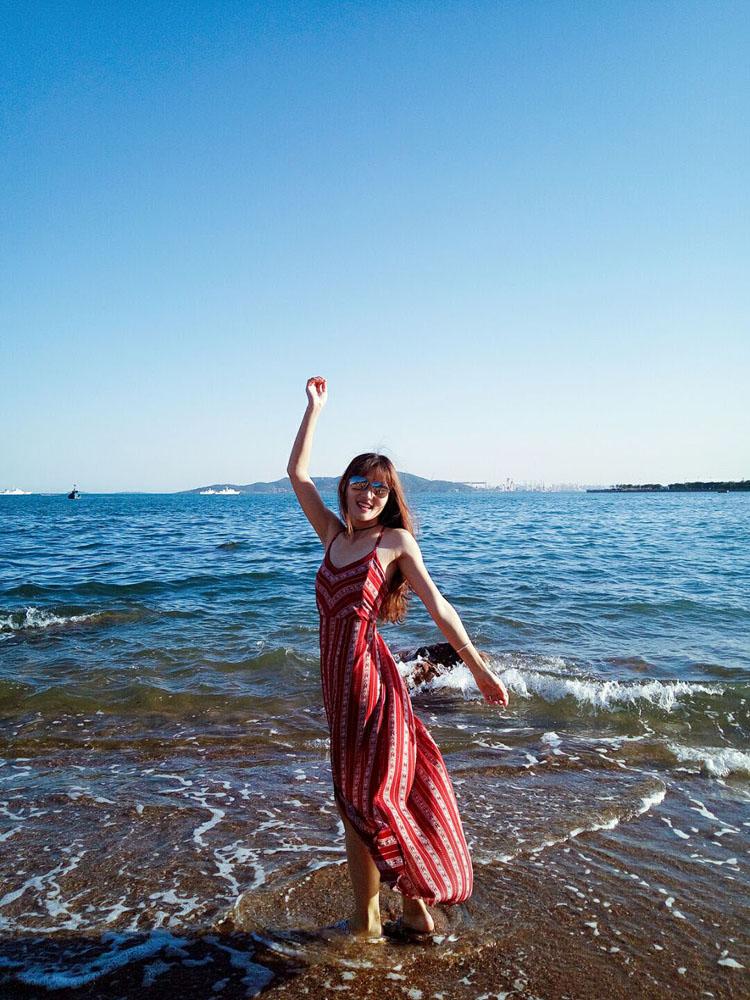 828新款酒红性感吊带海滩度假连衣裙泰国旅游长裙露背