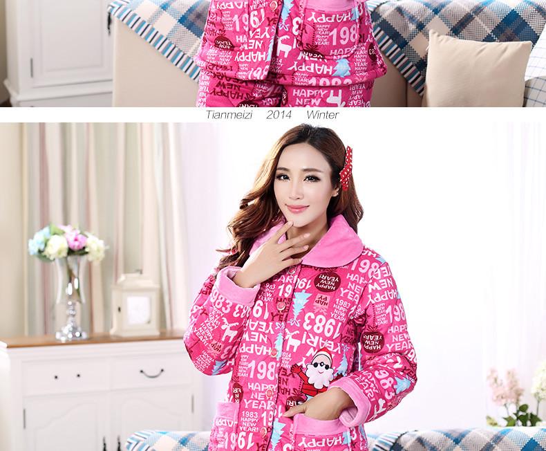 冬季三层加厚卡通珊瑚绒夹棉亲子睡衣家庭装可爱男女