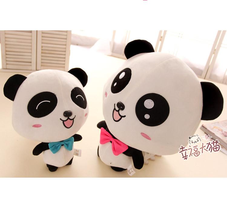 可爱蝴蝶结大眼睛情侣熊猫公仔