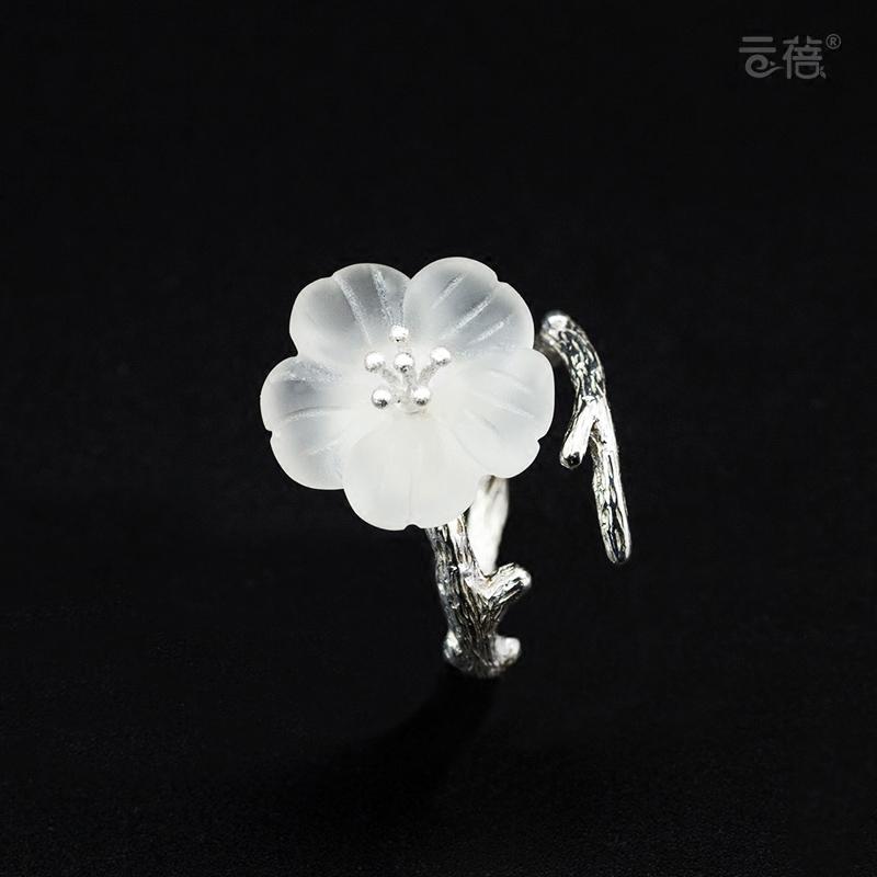 创意手工个性水晶花朵戒指925纯银树枝开口食指指环饰品日韩礼物