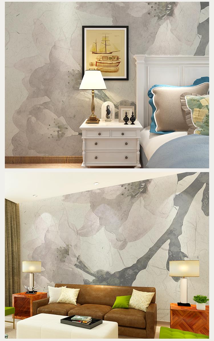 卡茵 复古美式花卉定制整张无缝墙纸 客厅沙发背景墙壁画 床头手绘图片