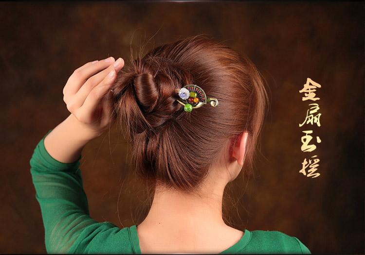 彩丽馆民族风发簪女古代古风古典盘发簪子头饰贝壳花朵首饰品送女朋友