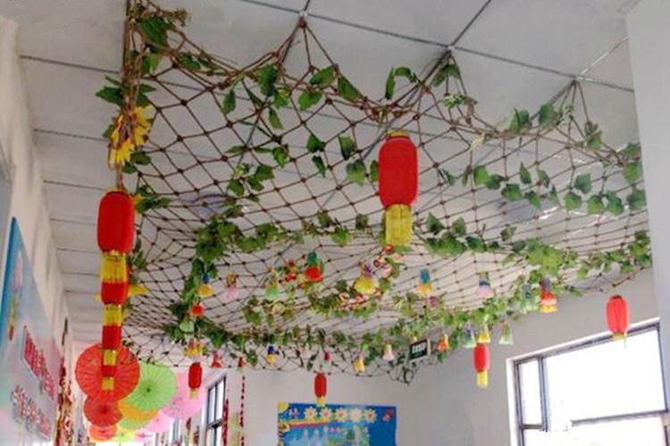 新款幼儿园装饰麻绳织网装饰背景墙饰农家风渔网编织网装饰品空中吊饰