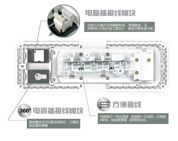 公牛(bull) 开关插座 电视电脑带开关g10e601电源插座网络网线墙壁