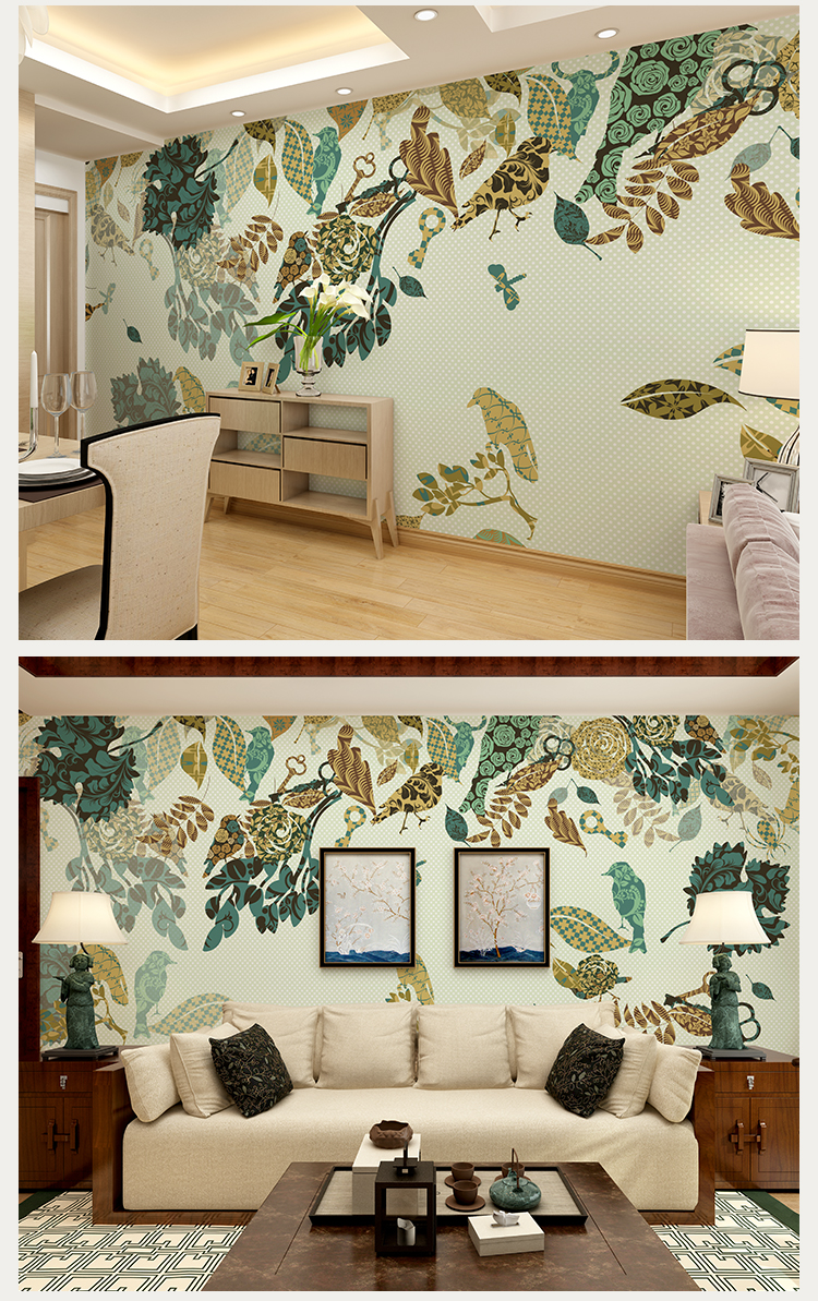 欧式风格影视墙壁纸 卧室花鸟墙布沙发墙墙纸无纺布大型壁画