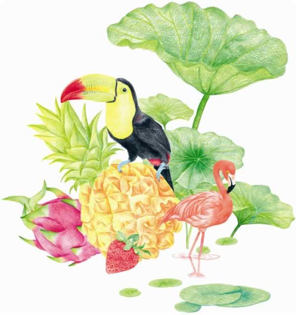 把每个季节的植物,动物,节日,旅行元素提取出来,绘制成漂亮的图画