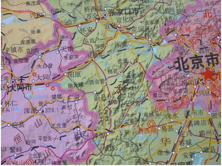 图挂图3米X22米 地形政区一体版 标注高铁20