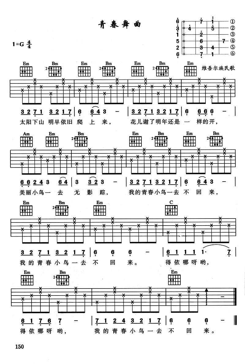 民谣吉他入门曲谱_民谣吉他入门曲谱-