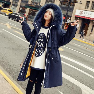 派克羽绒服女2018新款中长款时尚修身加厚大毛领韩版冬收腰白鸭绒