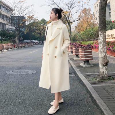 愫惠君2019秋冬季新款流行过膝赫本小个子中长款毛呢外套女8393